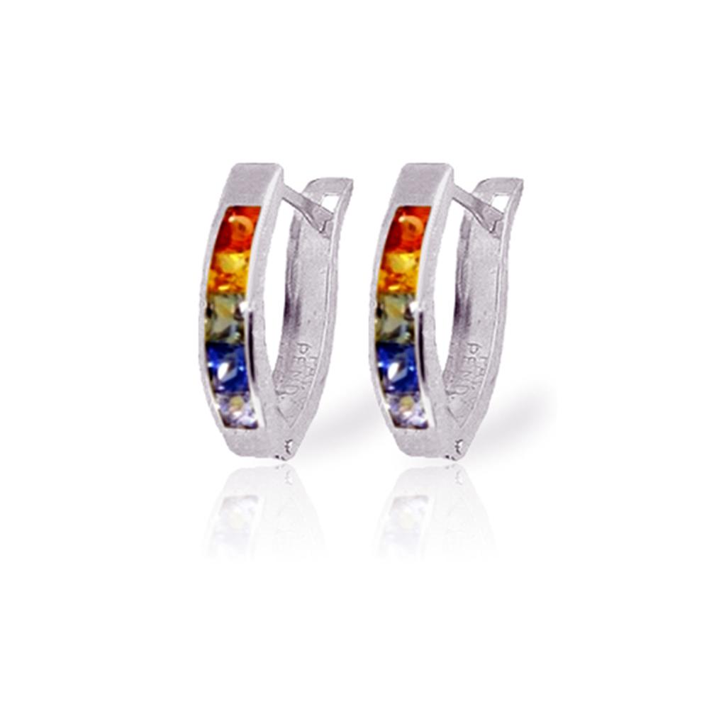 Genuine 1.30 ctw Multi-Color Sapphire Earrings Jewelry 14KT White Gold - REF-30K9V