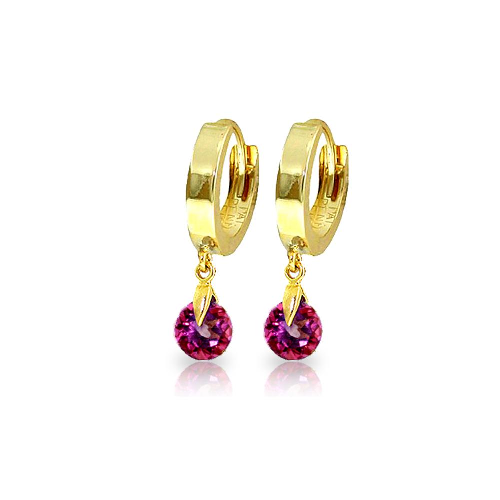 Genuine 2 ctw Pink Topaz Earrings Jewelry 14KT Yellow Gold - REF-26A2K