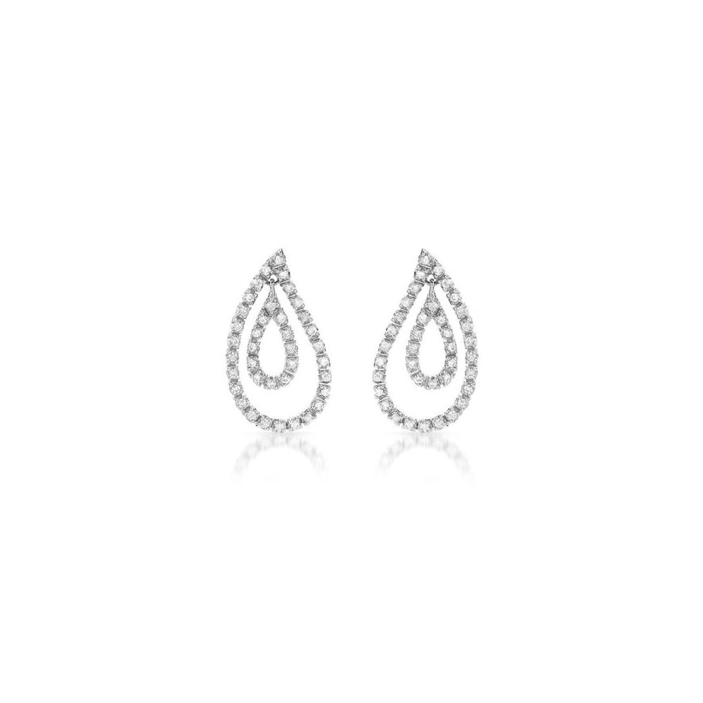 0.63 CTW Diamond Earrings 18K White Gold - REF-91H2M