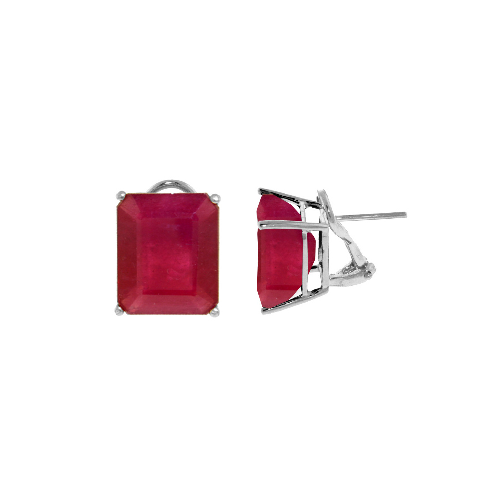 Genuine 15 ctw Ruby Earrings Jewelry 14KT White Gold - REF-117H6X