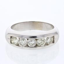 Channel-set Gents Diamond Band in 14K White Gold - REF-147Y8X