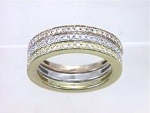 14K Tri Color Gold 0.9CTW Diamond Band Ring - REF-121R3K