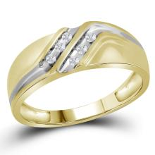 0.12 CTW Channel-set Natural Diamond Mens Masculine Band 10K Yellow Gold - REF-25M8A