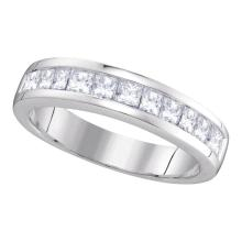 1 CTW Princess Channel-set Diamond Single Row Ring 14KT White Gold - REF-107K9W