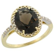 Natural 2.42 ctw Smoky-topaz & Diamond Engagement Ring 14K Yellow Gold - REF-34N7G