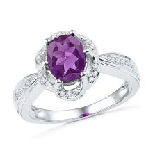 1.73 CTW Oval Created Amethyst Solitaire Diamond Ring 10KT White Gold - REF-26H9M