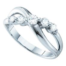 0.50 CTWDiamond 5-stone Crossover Ring 14KT White Gold - REF-57Y2X
