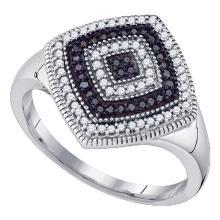 0.35 CTW Black Color Diamond Cluster Ring 10KT White Gold - REF-34N4F