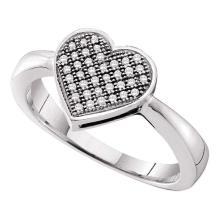 0.10 CTW Diamond Heart Love Cluster Ring 10KT White Gold - REF-19Y4X