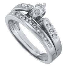 0.19 CTW Marquise Diamond Bridal Engagement Ring 10KT White Gold - REF-34F4N