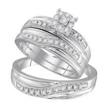 0.34 CTW His & Hers Diamond Solitaire Matching Bridal Ring 10KT White Gold - REF-44K9W