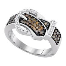 0.50 CTWBrown Color Diamond Belt Buckle Ring 10KT White Gold - REF-34M4H