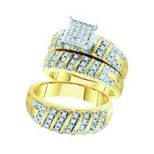 0.50 CTWHis & Hers Diamond Matching Bridal Ring 10KT Yellow Gold - REF-71M9H