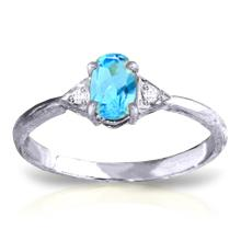 Genuine 0.46 ctw Blue Topaz & Diamond Ring Jewelry 14KT White Gold - REF-22V5W