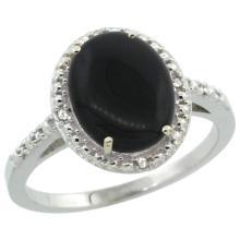 Natural 1.57 ctw Onyx & Diamond Engagement Ring 10K White Gold - REF-23V2F