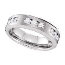 1 CTW Mens Diamond Wedding Anniversary Ring 10KT White Gold - REF-127N4F