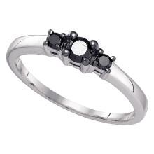 0.25 CTW Black Color 3-stone Diamond Bridal Ring 10KT White Gold - REF-10M5H