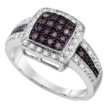 0.50 CTWBrown Color Diamond Cluster Ring 14KT White Gold - REF-46H4M