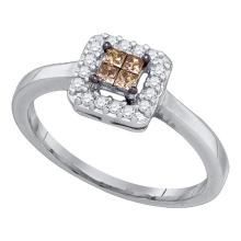 0.25 CTW Princess Cognac-brown Color Diamond Halo Ring 10KT White Gold - REF-19F4N