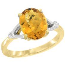 Natural 2.41 ctw Whisky-quartz & Diamond Engagement Ring 14K Yellow Gold - REF-33N3G