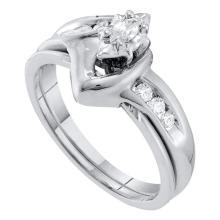 0.24 CTW Marquise Diamond Solitaire Classic Bridal Set 10KT White Gold - REF-34K4W