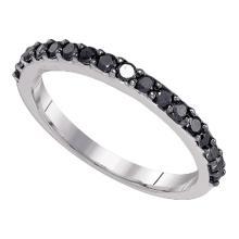 0.50 CTWBlack Color Diamond Ring 10KT White Gold - REF-14K9W
