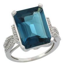 Natural 12.14 ctw London-blue-topaz & Diamond Engagement Ring 10K White Gold - REF-56A9V