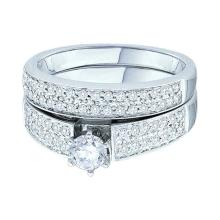 0.74 CTW Diamond Bridal Wedding Engagement Ring 14KT White Gold - REF-119W9K
