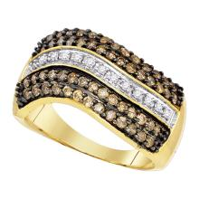 0.90 CTWCognac-brown Color Diamond Ring 10KT Yellow Gold - REF-49N5F