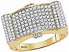 1.50 CTW Mens Natural Diamond Rectangle Domed Cluster Ring 10K Yellow Gold - REF-165X9F