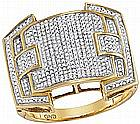 0.63 CTW Mens Natural Diamond Arched Square Cluster Ring 10K Yellow Gold - REF-99X9F