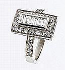 Baguette & Round Diamond Ring in Platinum - REF-146W5H