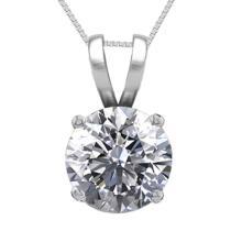 14K White Gold Jewelry 0.77 ct Natural Diamond Solitaire Necklace - REF#195X6F-WJ13287