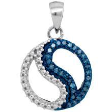 0.10 CTW Blue Color Diamond Circle Ying Yang Pendant 10KT White Gold - REF-10W5K