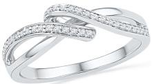 0.13 CTW Natural Diamond Crossover Band 10K White Gold - REF-16N5Y