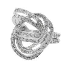 Genuine 0.83 CTW Diamond Fashion  Ring in 14K White Gold - REF-90Y9V