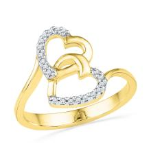 0.08 CTW Natural Diamond Double Heart Love Ring 10K Yellow Gold - REF-13Y5V