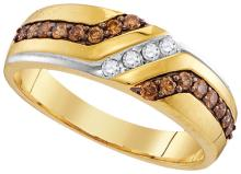 0.35 CTW Mens Cognac-brown Colored Diamond Anniversary Band 10K Yellow Gold - REF-30A2N