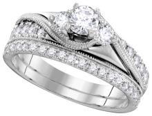 0.88 CTW Natural Diamond Bridal Engagement Ring 14K White Gold - REF-112F5M