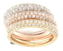 Genuine 2.28 CTW Diamond Stack  Ring in 14K Two Tone Yellow Gold - REF-231Z2Y