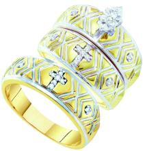 0.14 CTW Marquise Diamond Christian Cross Trio Matching Mens Ring 10K Yellow Gold - REF-52Y5V