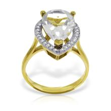 Genuine 5.61 ctw White Topaz & Diamond Ring Jewelry 14KT Yellow Gold - REF-77K3V