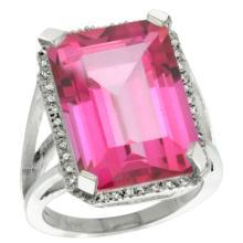 Natural 15.06 ctw Pink-topaz & Diamond Engagement Ring 14K White Gold - REF-81A9V