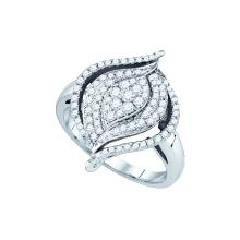 0.75 CTW Natural Diamond Wide Cocktail Cluster Ring 10K White Gold - REF-60F2M