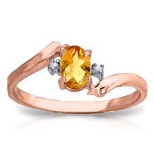 Genuine 0.46 ctw Citrine & Diamond Ring Jewelry 14KT Rose Gold - REF-28P3H