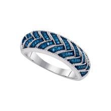 0.2 CTW Blue Colored Diamond Milgrain Band 10K White Gold - REF-30K2W