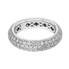 Genuine 1.75 CTW Diamond Wedding Band  Ring in 14K White Gold - REF-151F5M