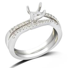 Genuine 0.28 CTW Diamond Engagement  Ring in 14K White Gold - REF-60H5R
