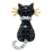 0.33 CTW Black Color Diamond Kitty Cat Pendant 10KT Yellow Gold - REF-13H4M