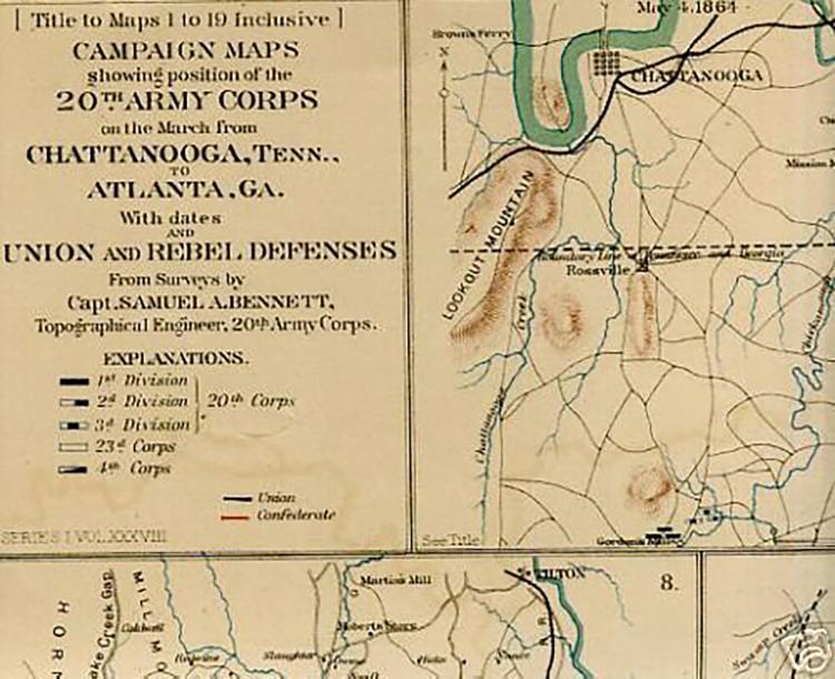 Antique Civil War Map Chattanooga Chickamauga Atlanta Sava